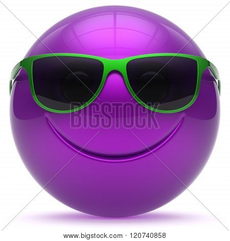 Smiling face head ball cheerful sphere emoticon cartoon smiley happy decoration cute purple green sunglasses. Smile funny joyful person laughing joy character toy avatar. 3d render isolated