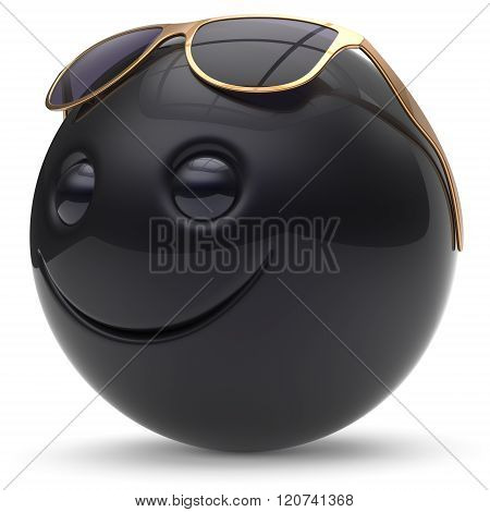 Smile face cheerful head ball sphere emoticon cartoon smiley happy decoration cute black golden sunglasses. Smiling funny joyful person character