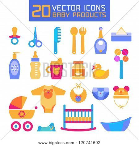 Vector illustration of baby products