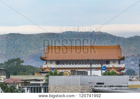 Chinese Style Architecute And Mountain