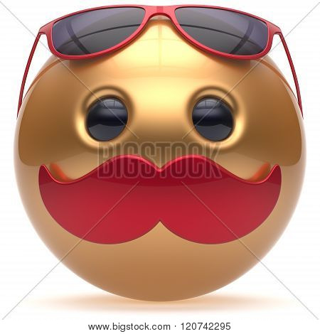 Smiley mustache face emoticon ball happy joyful cartoon handsome person golden red sunglasses caricature. Cheerful eyeglasses laughing fun sphere positive character avatar. 3d render isolated
