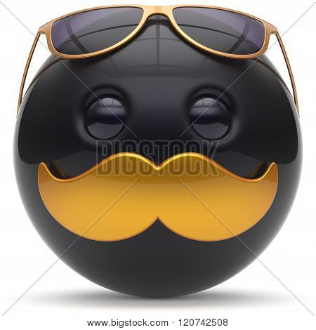 Smiley mustache face emoticon ball happy joyful handsome cartoon person black golden sunglasses caricature. Cheerful eyeglasses laughing fun sphere positive character avatar. 3d render isolated