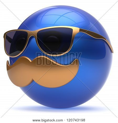 Smiling cartoon mustache face emoticon ball happy joyful handsome person blue caricature sunglasses icon. Cheerful eyeglasses laughing fun sphere positive smiley character avatar. 3d render isolated