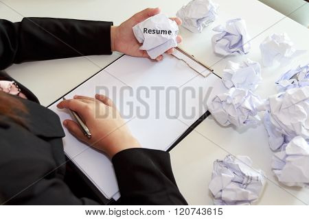 Hands Of Female Crumple Sheets Of Resume At The Desk, Mistake Resume