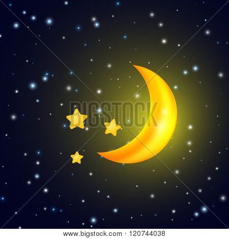 Moon And Stars Vector Background With Evening Sky