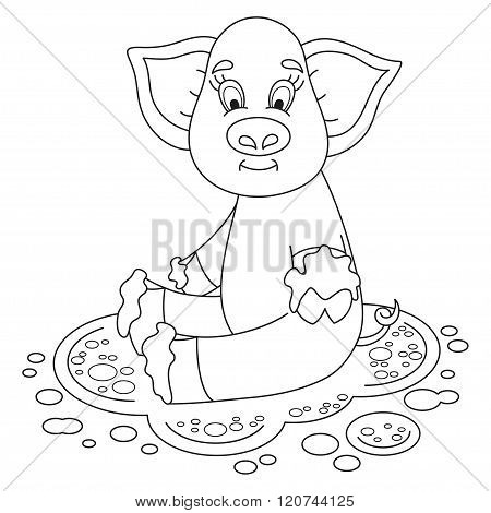 Cute funny piggy sits on dirt puddle, coloring book