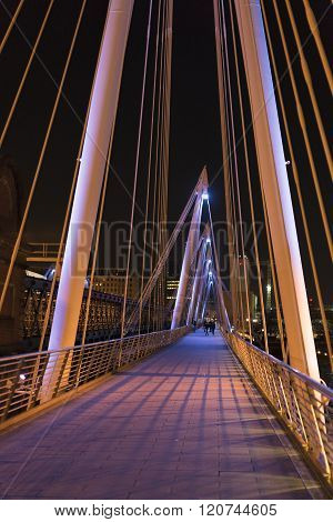 Golden Jubilee Bridge London By Night Colorful Illuminated
