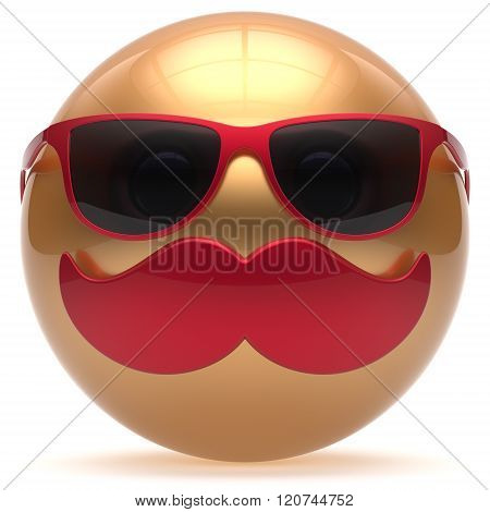 Mustache smiling face emoticon ball happy joyful cartoon handsome person golden sunglasses red caricature. Cheerful stylish laughing fun sphere positive smiley character avatar. 3d render