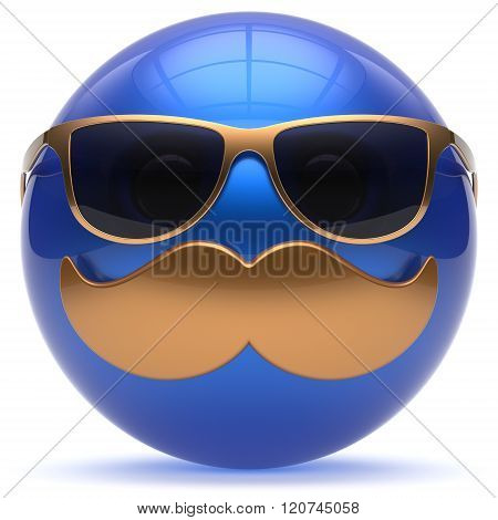 Smiling face cartoon mustache emoticon ball happy joyful handsome person blue gold caricature sunglasses icon. Cheerful eyeglasses laughing fun sphere positive smiley character avatar. 3d render