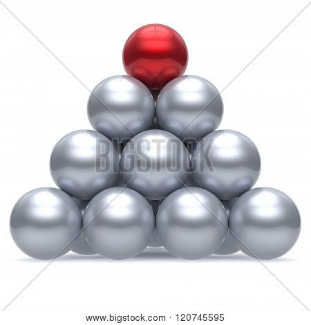 Hierarchy pyramid leader sphere ball corporation red top order leadership element teamwork group business concept shiny sparkling white chrome. 3d render isolated