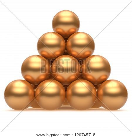 Sphere ball pyramid hierarchy corporation gold top order leadership element teamwork stable group business concept golden yellow shiny sparkling. 3d render isolated
