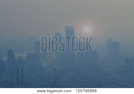 Abstract Blurred Of City In The Fog With Fare, Bangkok Thailand
