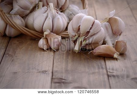 Bunch Of Garlic On A Wooden Table