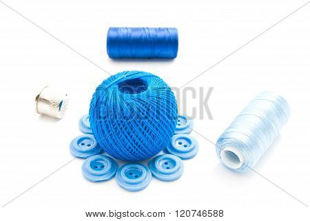 Plastic Buttons, Thimble And Thread