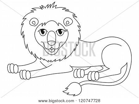 Amusing cartoon lion regally lying, coloring book page