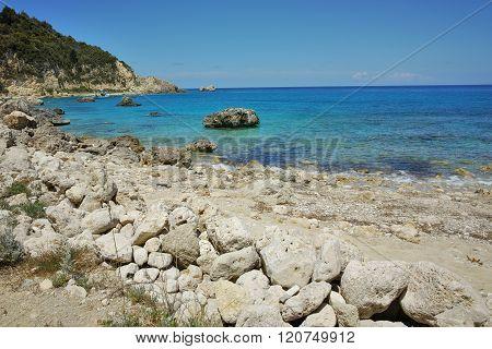 Rock in the water of Agios Nikitas Beach, Lefkada, Greece