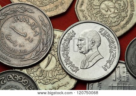 Coins of Jordan. King Hussein bin Talal of Jordan depicted in the Jordanian 10 piastres (qirsh) coin.