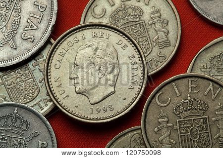 Coins of Spain. King Juan Carlos I of Spain depicted in the Spanish 100 peseta coin (1998).