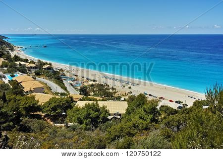 Amazing panorama of Katisma Beach, Lefkada, Greece