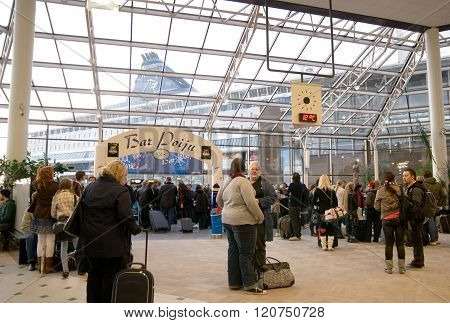 Turku. Finland. People in terminal Silja Line