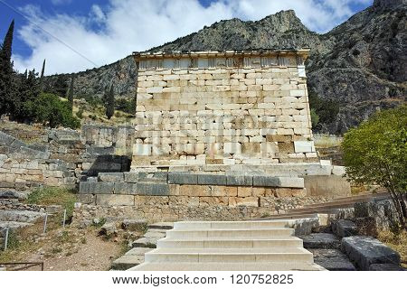 Old Building of Ancient Greek archaeological site of Delphi, Greece