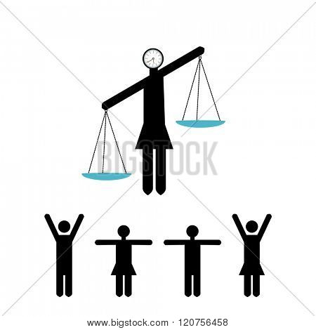woman with balance scales stickpeople