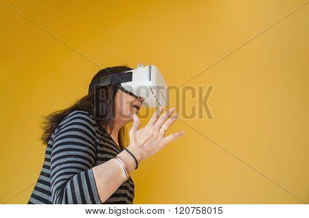Woman Wearing A Virtual Reality Headset