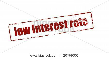 Rubber stamp with text low interest rate inside vector illustration