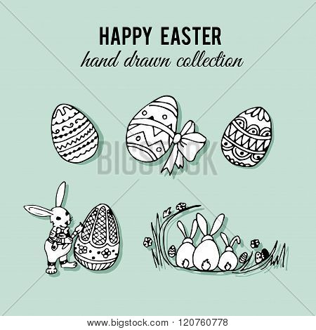 Happy easter set. Hand drawn easter elements illustration. Easter rabits and eggs.