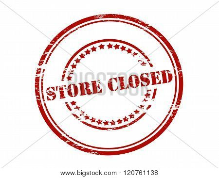 Rubber stamp with text store closed inside vector illustration