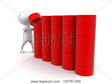 3D Man Arranging Cylindrical Shapes In A Row Concept