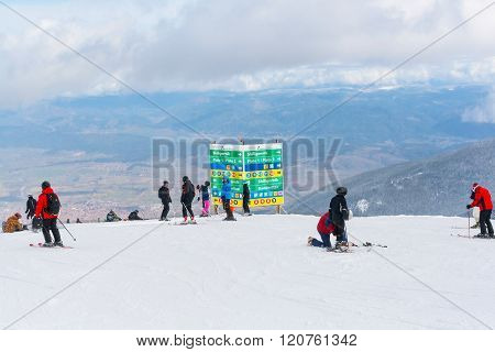 Ski Resort Bansko, Bulgaria Aerial View, Skiers, Signpost With Directions