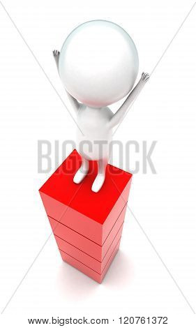 3D Man Raising Hands Upward And Standing On The Top Of Red Blocks Concept