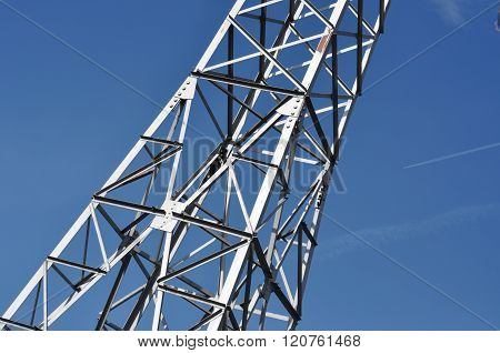 Electricty Power Tower Against Blue Sky