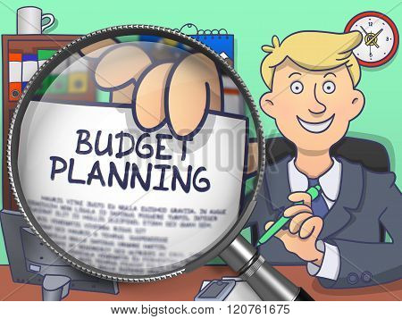 Budget Planning through Magnifying Glass. Doodle Concept.