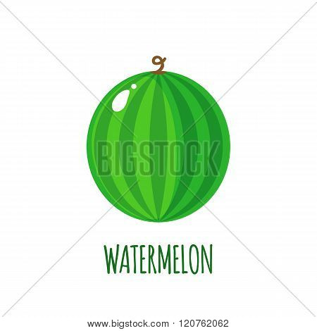 Watermelon Icon In Flat Style On White Background