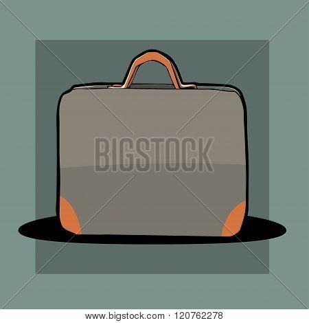 cartoon gray travel bag with orange accents