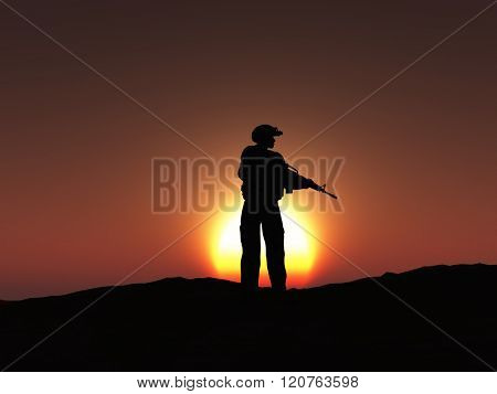 3D render of a silhouetted soldier at sunset