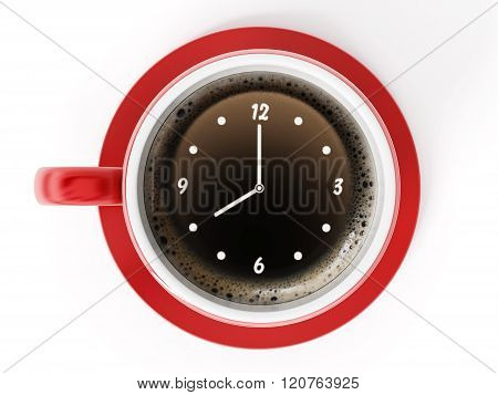 Clock On Coffe Cup