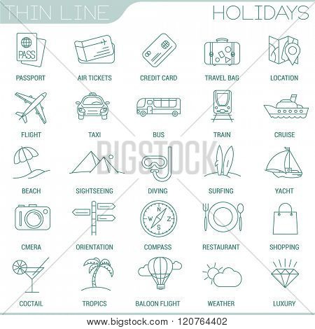Thin line vacation and travel vector interface icon set