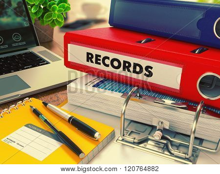 Red Office Folder with Inscription Records.