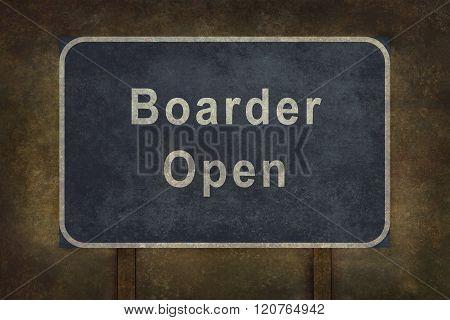 Border Open Roadside Sign Illustration