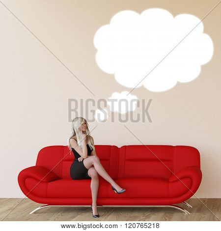 Woman with Thought Bubble Thinking About Something At Home