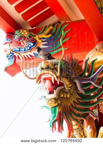 Dragon head in a Chinese temple or with gods.