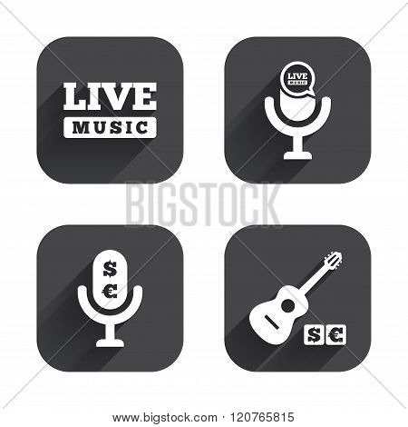 Musical elements icon. Microphone, Live music.