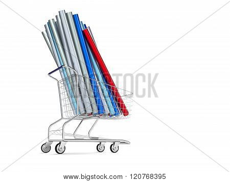 Car wrapping film roll in the shopping  cart