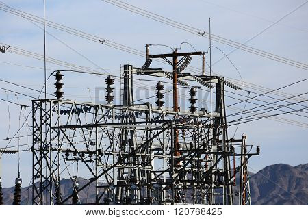 Electrical Power Lines Transformer Station