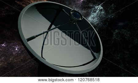 Radio Telescope Antenna Observatory Array Dish At Night Under Wonderful Nebula Clouds