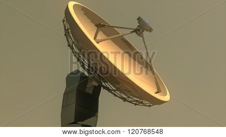 Radio Telescope Antenna Observatory Array, Dish In The Sunset Sunrise
