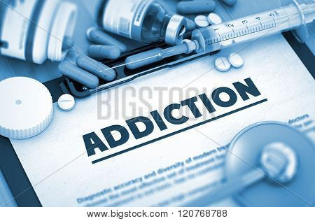 Addiction Diagnosis. Medical Concept. 3D.